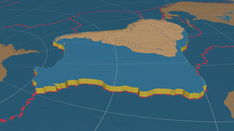 South American tectonic plate. Bumps Animation