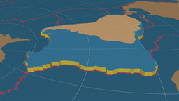 South American tectonic plate. Solids Animation