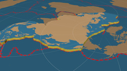 Eurasian tectonic plate. Solids Animation
