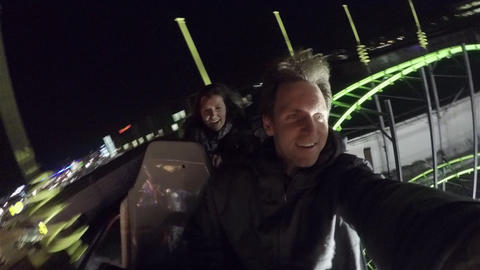 CLOSE UP: Friends On A Roller Coaster Ride stock footage