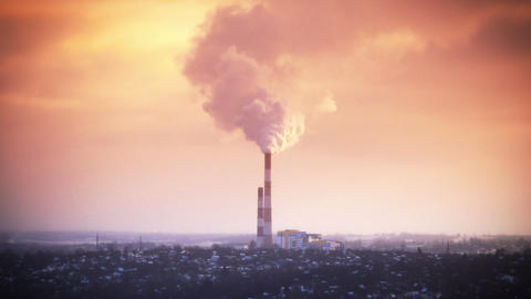 Countryside Factory Pollution - HD stock footage