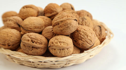 Walnuts in basket Footage