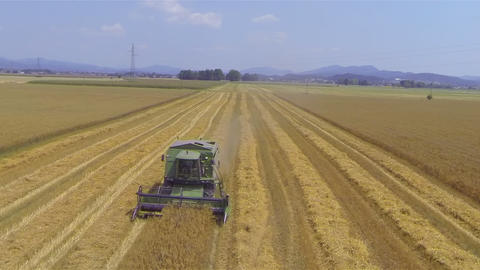 AERIAL: Loaded Tractor With Wheat Drives Away From stock footage