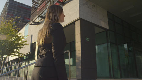 SLOW MOTION: Businesswoman meeting Businessman in  Footage