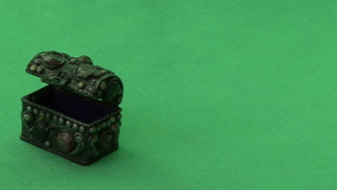 casket on a green background Footage