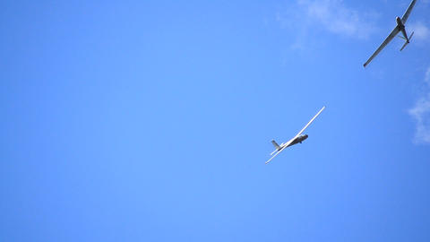 Glider isolated against blue sky Footage