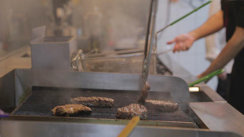 2 Angles: Cooking Barbeque Steak - Raw To Cooked stock footage