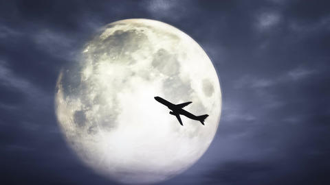 Full Moon and Airplane at Night 3 D Animation 1 Animation