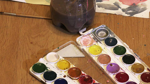 Multi-colored Paints And Brushes stock footage