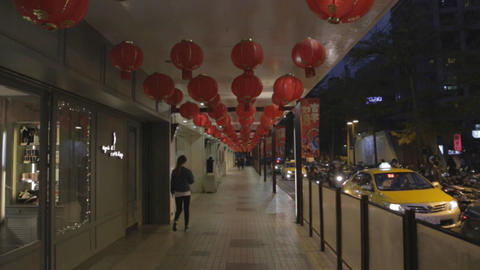 Forward Moving Shot - Many Red Lanterns In Taipei stock footage