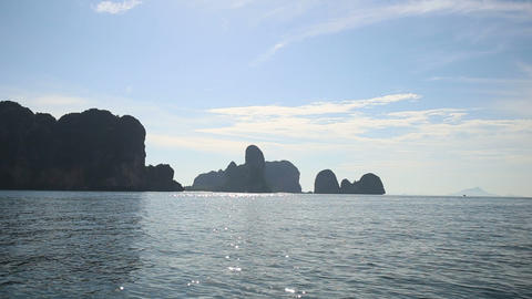 Landscape Of Rocky Islands In Thailand Under Morni stock footage