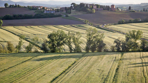 Typical Landscape Of Tuscany With Hills And The Gr stock footage