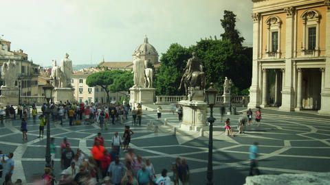 Tourists Visit Piazza Del Campidoglio On Capitoline Hill,time Lapse,4k stock footage