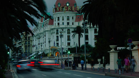 Hotel Negresco At Night In Nice, A Symbol Of The Cote D'Azur.Time Lapse,zoom Out stock footage