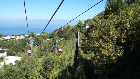 View from the Mount Solaro Chair lift on the Isle of Capri (2 of 7) Footage