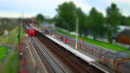 Train Approaching Time Lapse Tilt Film stock footage