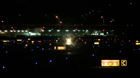 Small Airplane Runway Night stock footage