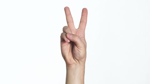 Man Hand Showing Victory Sign stock footage