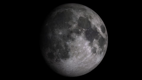 4K Loopable W/Alpha: Moon Phases / Moon Surface / Lunar Surface Footage