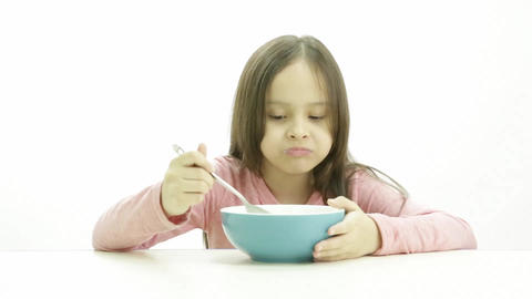 Young Child Eating Cereal 5604 stock footage