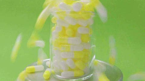 Capsules In Slow Motion stock footage