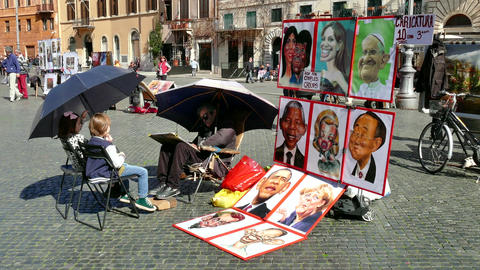 Man Painting Children Caricature Selling Celebrities Portraits Rome Roma Italy stock footage
