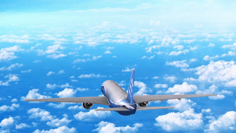 Commercial Jet Airplane Flies At High Altitude Above The Clouds stock footage