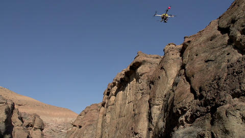 Flight Quadrocopter In The Gorge stock footage