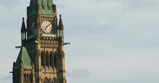Detail of tower with clock on the Canadian Parliament Footage