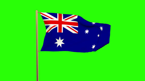 Australia Flag Waving In The Wind. Green Screen, Alpha Matte. Loopable Animation stock footage