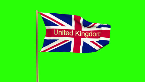 United Kingdom flag with title United Kingdom waving in the wind. Looping sun ri Animation