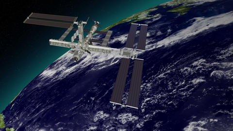 International Space Station Orbiting The Earth stock footage