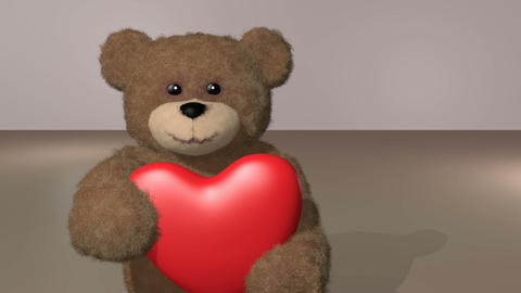 teddy giving heart, with alpha channel Animation