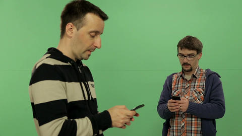 Men With Mobile - Green Screen stock footage
