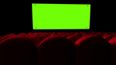 Cinema Screen With Green Screen And Open Red Seats stock footage