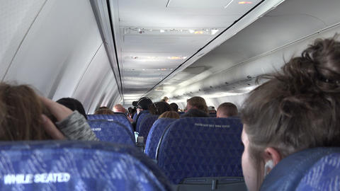Seated In The Back Of The Airplane stock footage