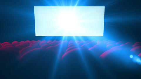 Flickering white screen with lens of empty modern cinema Animation
