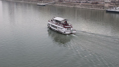 Boat on river Danube Footage