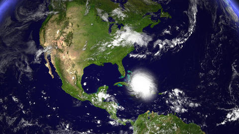 Hurricane Planet Dom. Republic / Jamaica / Haiti / Cuba stock footage