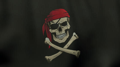 4K UltraHD Loopable Waving Colored Jolly Roger Pirate Flag Animation stock footage