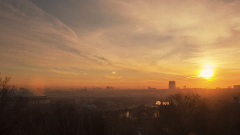 Moscow Sunrise Timelapse 4K stock footage