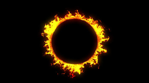 Beautiful Ring Of Fire Looped. HD 1080. Alpha Channel stock footage