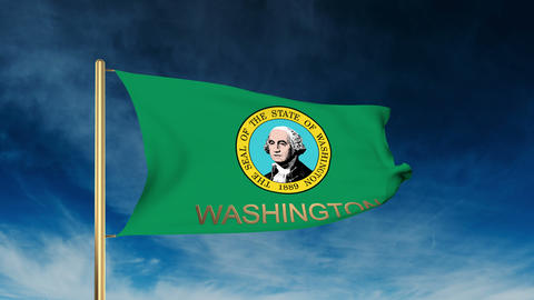 Washington Flag Slider Style With Title. Waving In The Wind With Cloud Backgroun stock footage