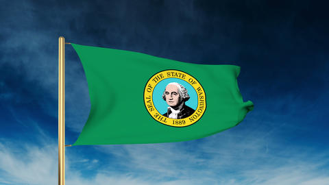 Washington flag slider style. Waving in the win with cloud background animation Animation