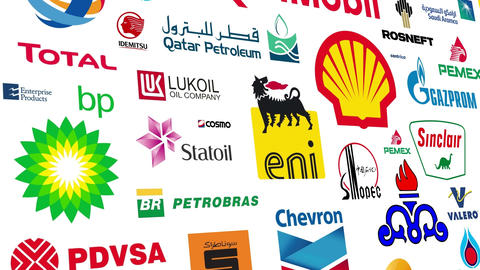 Oil Companies Logo Loop stock footage