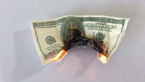 Burning Money stock footage