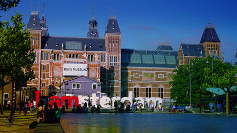 The Rijksmuseum Amsterdam Museum Area With The Words IAMSTERDAM. Time Lapse,4k stock footage