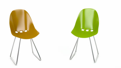 Colorful Plastic Chairs stock footage