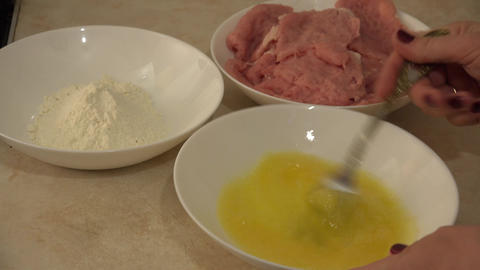 Fried Meat Making With Raw Ingredients. Flour, Yolk, Crumble. 4K UltraHD, UHD stock footage