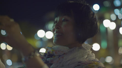 Asian Woman Taking Picture stock footage